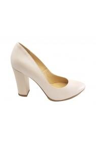 Pantofi dama alb sidefat din piele naturala