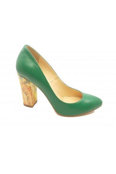 Pantofi dama verzi din piele naturala