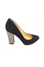 Pantofi eleganti negri cu toc argintiu din piele intoarsa