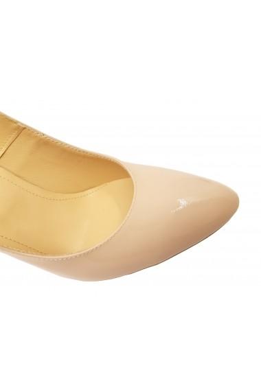 Pantofi dama din lac nude cu toc inalt