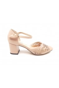 Pantofi dama decupati roz pal din piele naturala