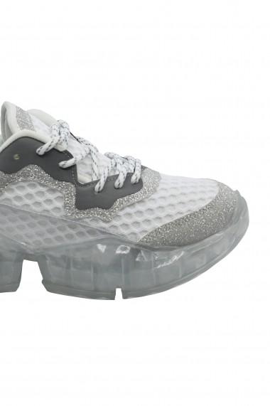 Pantofi sport dama silver din material textil