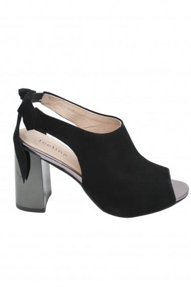 Sandale elegante negre din piele intoarsa