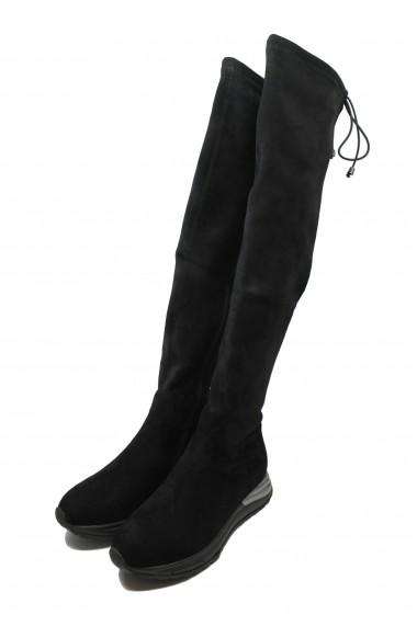 Cizme dama mulate pe picior negre din piele intoarsa