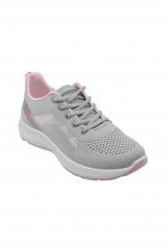 Sneakers dama gri cu roz din material textil