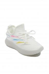 Sneakers dama albi din material textil