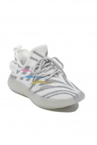 Sneakers dama albi cu gri din material textil