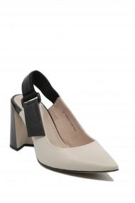 Pantofi cu toc dama decupati bej cu negru din piele naturala