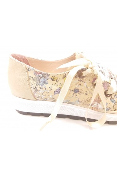 Pantofi sport dama bej din piele naturala