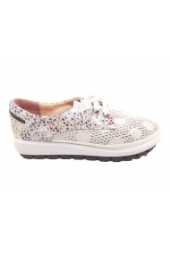 Pantofi sport dama alb sidefat din piele naturala