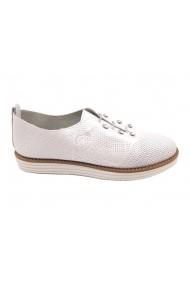Pantofi casual alb sidefat din piele naturala