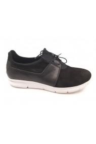 Pantofi sport negri cu siret  din piele intoarsa