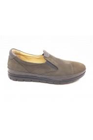 Pantofi casual gri din piele intoarsa