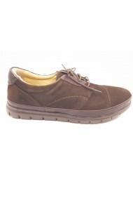 Pantofi casual maro cu siret  din piele intoarsa