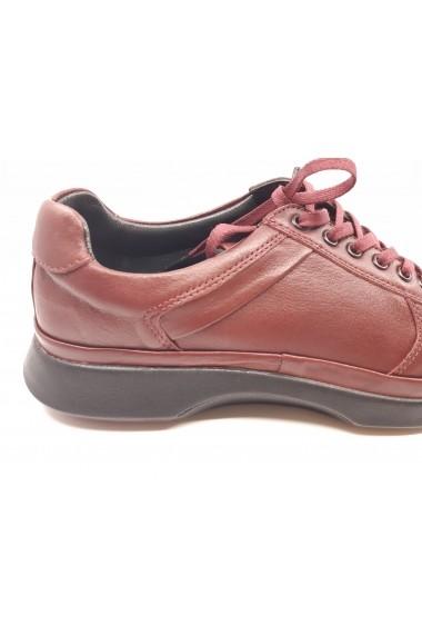 Pantofi casual bordo cu siret  din piele naturala