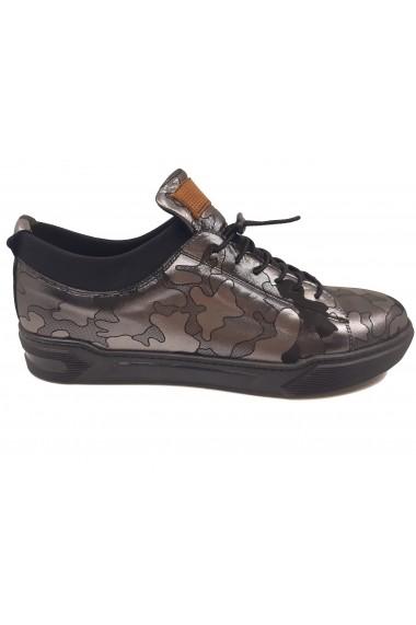 Pantofi sport negri cu argintiu barbati din piele naturala