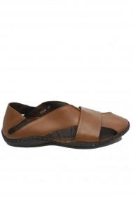 Sandale coniac barbati cu design modern si talpa cusuta