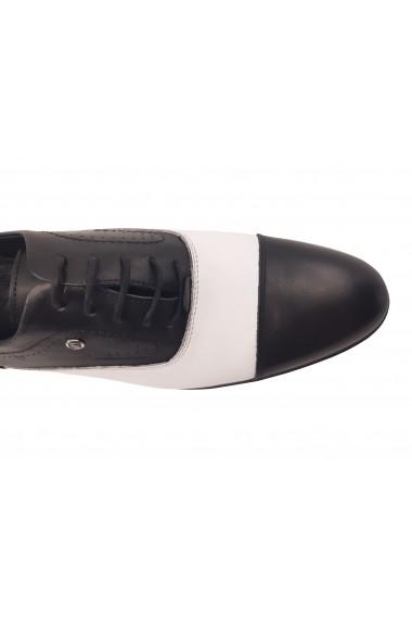 Pantofi eleganti negru cu alb din piele naturala