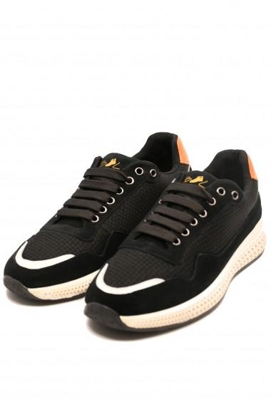 Pantofi sport negri barbati din material textil