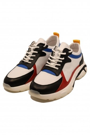 Pantofi sport albi barbati din piele naturala