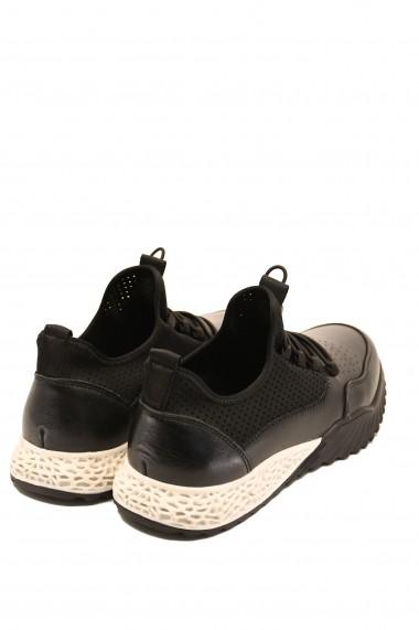 Pantofi sport negri barbati din piele naturala