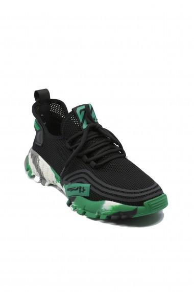 Pantofi sport Battisto Lascari negru cu verde din material textil