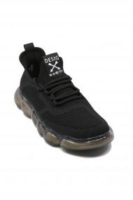 Pantofi sport negri Battisto Lascari din material textil plasa