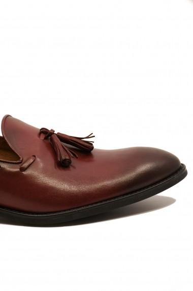 Pantofi eleganti bordo din piele naturala