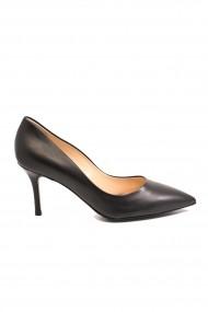 Pantofi eleganti stiletto negri din piele naturala