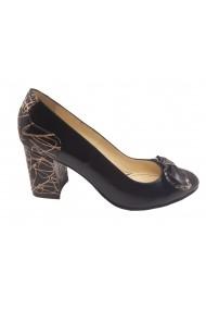 Pantofi dama eleganti  negri cu detalii aurii  din piele naturala