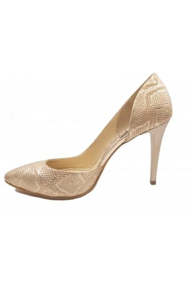 Pantofi dama decupati din piele naturala sarpe auriu