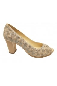 Pantofi sport casual dama decupati office bej cu turcoaz sidefat din piele naturala