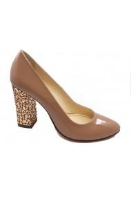 Pantofi eleganti din lac cu toc mozaic auriu