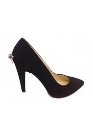 Pantofi stiletto negru antilopa cu fundita argintie la spate