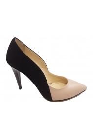 Pantofi stiletto negru antilopa combinat cu nude