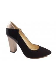 Pantofi eleganti negri cu toc auriu din piele intoarsa