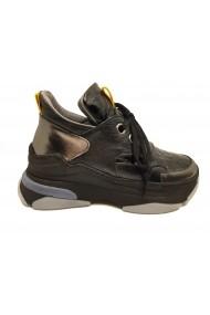 Pantofi sport dama negri cu talpa voluminoasa  din piele naturala