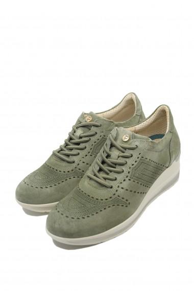 Pantofi dama olive cu platforma din piele intoarsa
