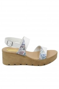 Sandale dama alb, flori cu platforma Bia