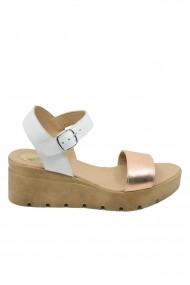 Sandale dama alb + bronz cu platforma Mara