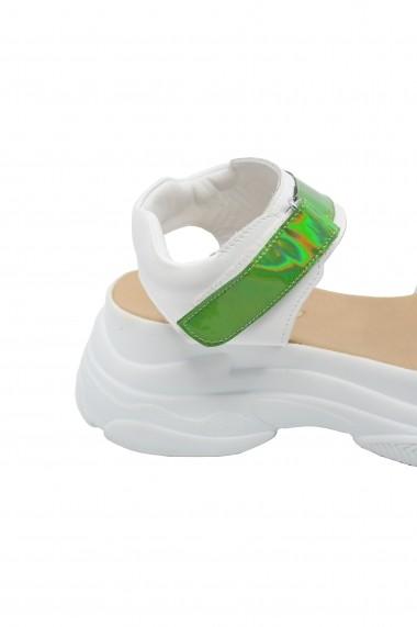 Sandale dama stil sport alb + verde oglinda Anais