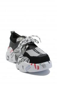 Pantofi sport dama ILI alb+zebra din piele naturala