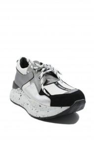 Pantofi sport dama ILI albi argintii din piele naturala
