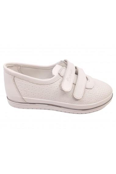 Pantofi sport fete albi din piele naturala