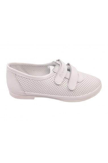 Pantofi fete albi perforati din piele naturala