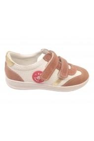Pantofi sport fete alb cu visiniu din piele naturala