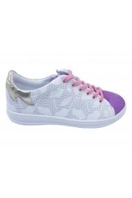 Pantofi sport fete alb cu mov din piele naturala