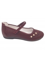 Pantofi fete bordo din piele naturala