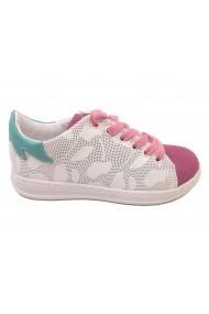 Pantofi sport fete albi cu roz din piele naturala