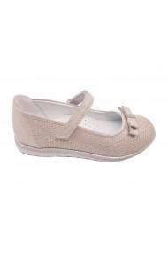 Pantofi fete argintii din piele intoarsa